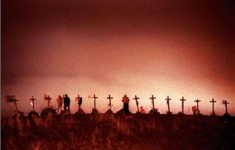 Columbine High's spontaneous memorial of 15 wooden crosses