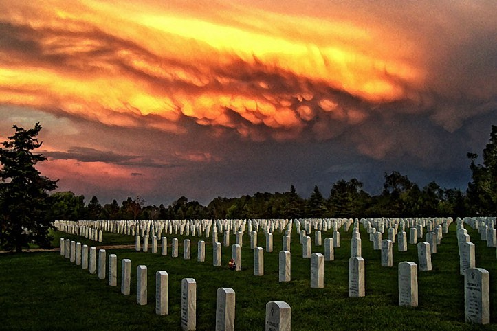 Ft. Logan National Cemetery at sunset (by Brad)