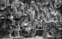 Dec. 23, 1973: Elaborate figures create a dramatic Nativity scene in Old City Plaza adjacent to Olvera St. This photo was published in the Dec. 24, 1973 LA Times.